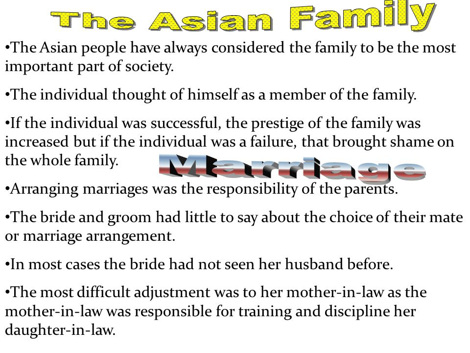 The Asian Family Marriage