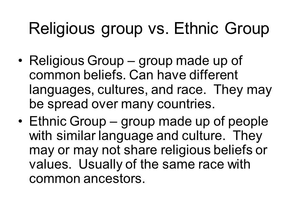 Religious group vs. Ethnic Group