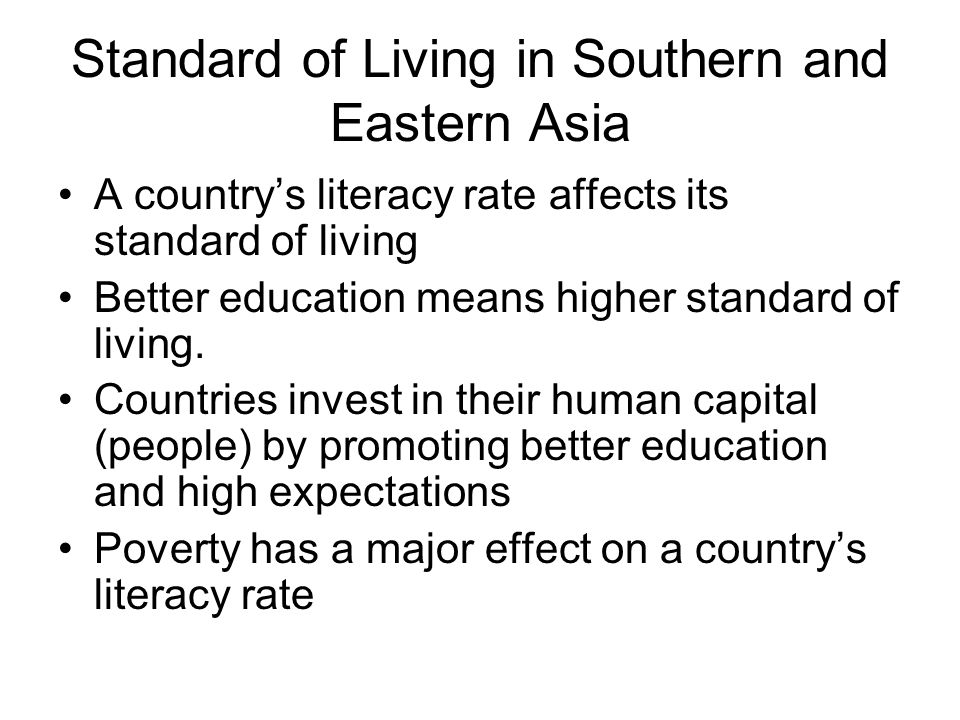 Standard of Living in Southern and Eastern Asia