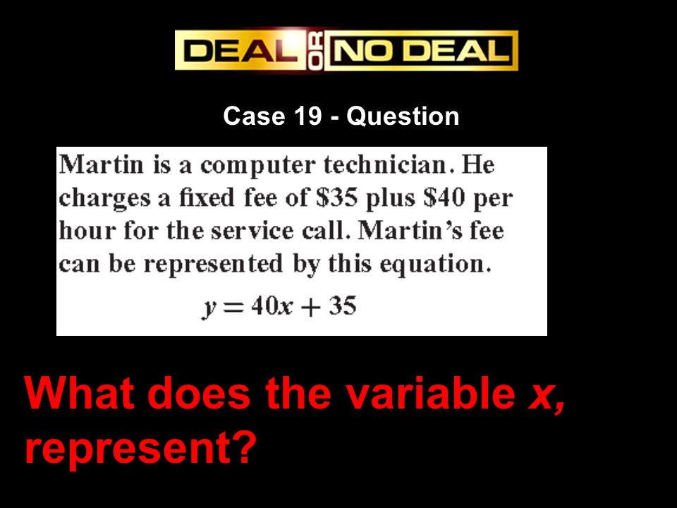 What does the variable x, represent
