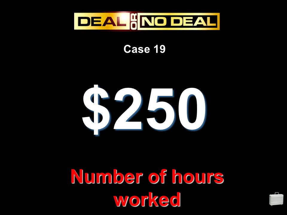 Case 19 $250 Number of hours worked