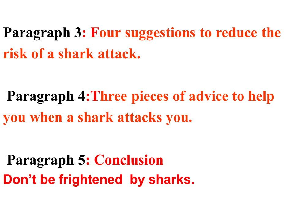 Paragraph 3: Four suggestions to reduce the risk of a shark attack.