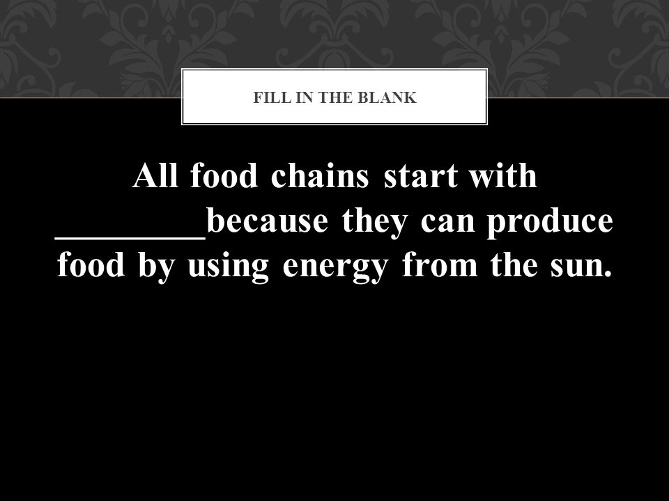 Fill in the blank All food chains start with ________because they can produce food by using energy from the sun.