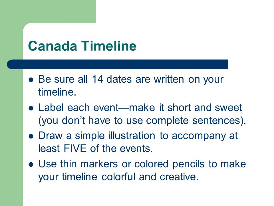 Canada Timeline Be sure all 14 dates are written on your timeline.