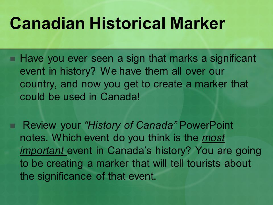 Canadian Historical Marker