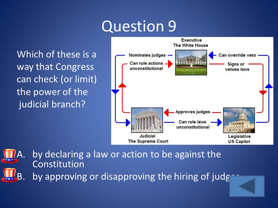 Question 9 Which of these is a way that Congress can check (or limit)