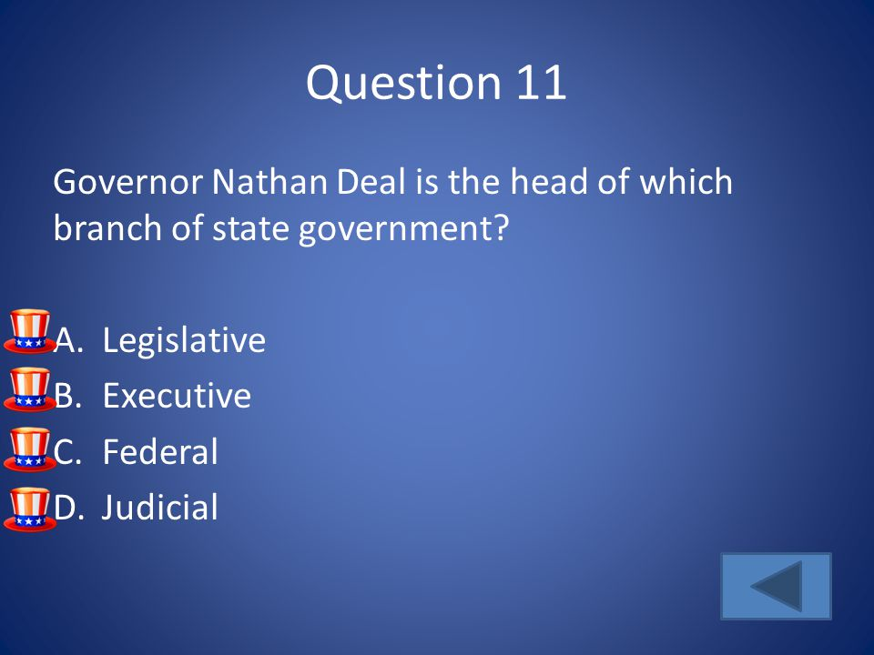 Question 11 Governor Nathan Deal is the head of which branch of state government Legislative. Executive.