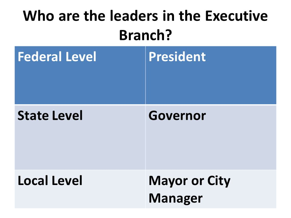Who are the leaders in the Executive Branch