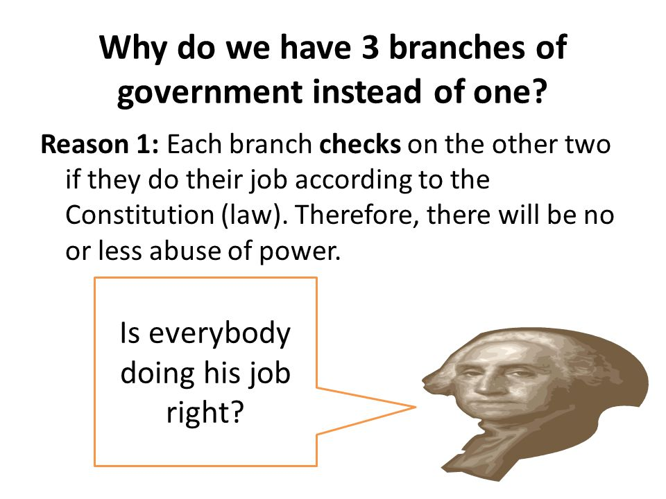 Why do we have 3 branches of government instead of one