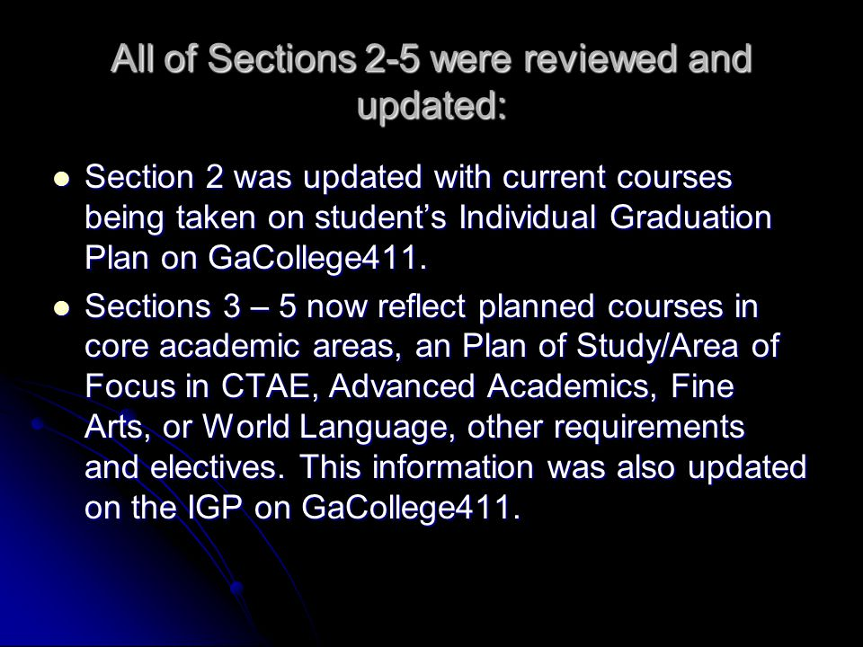 All of Sections 2-5 were reviewed and updated: