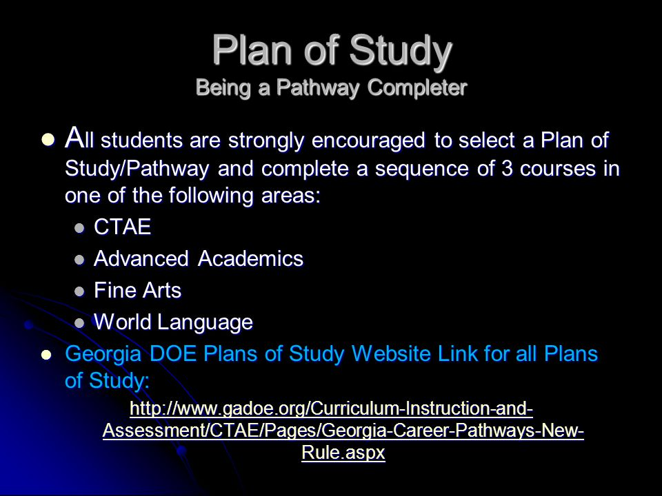 Plan of Study Being a Pathway Completer