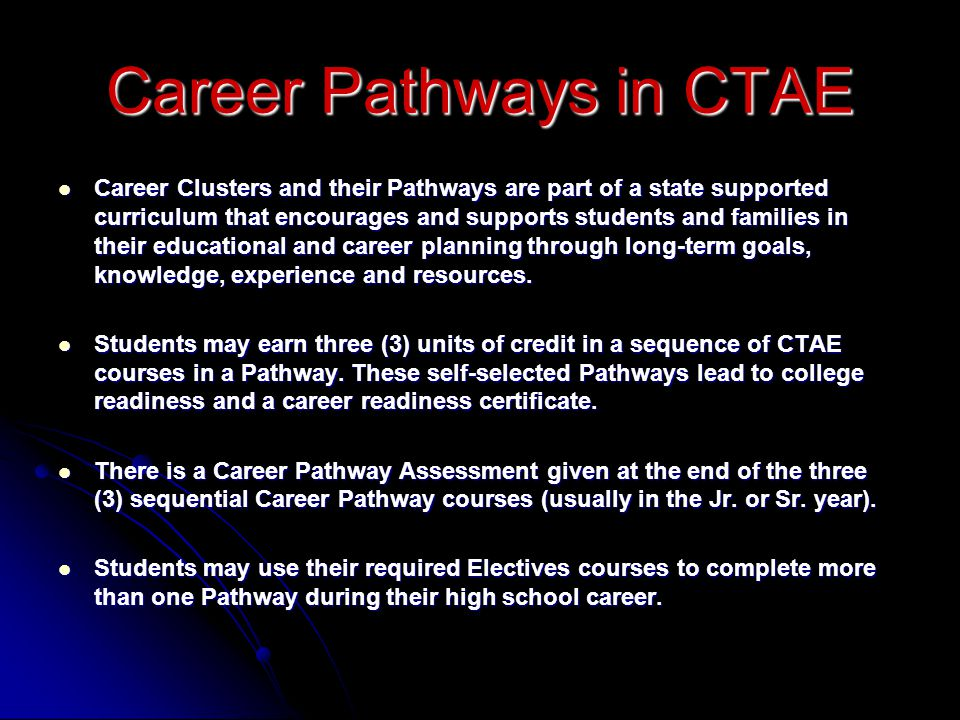Career Clusters and their Pathways are part of a state supported curriculum that encourages and supports students and families in their educational and career planning through long-term goals, knowledge, experience and resources.
