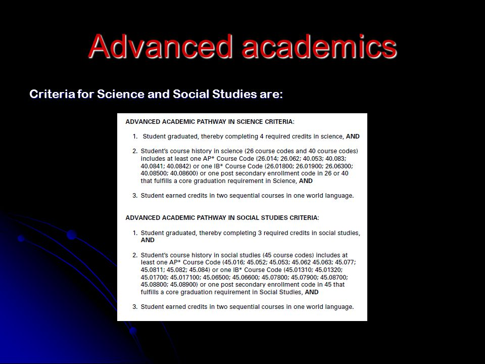 Criteria for Science and Social Studies are: