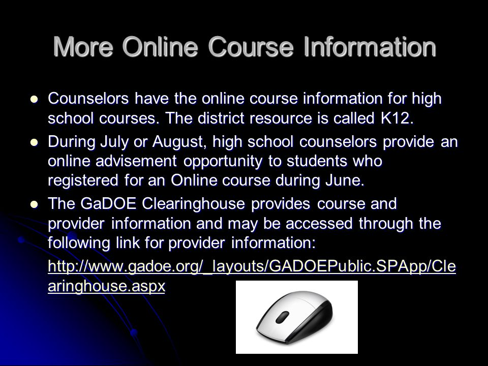 More Online Course Information