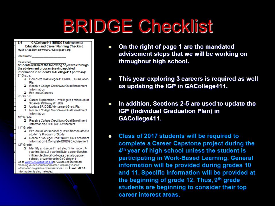 On the right of page 1 are the mandated advisement steps that we will be working on throughout high school.