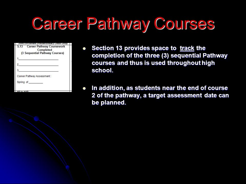 Section 13 provides space to track the completion of the three (3) sequential Pathway courses and thus is used throughout high school.