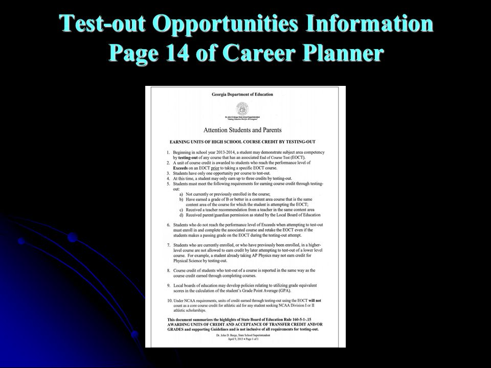 Test-out Opportunities Information Page 14 of Career Planner