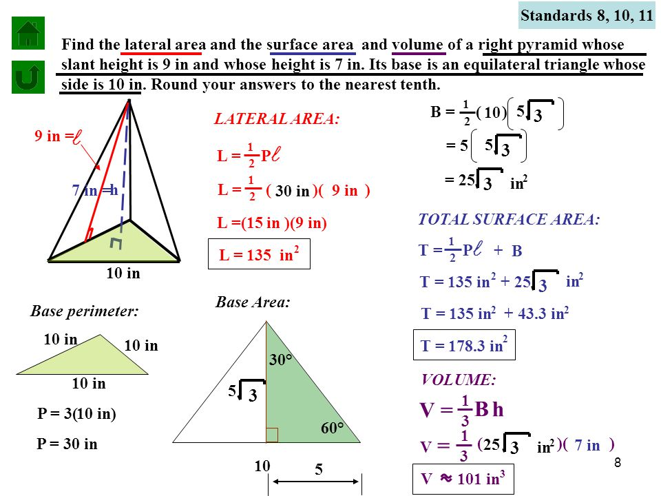 Surface Area Of Pyramids Volume Of A Right Pyramid Ppt
