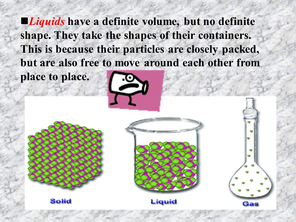 Liquids have a definite volume, but no definite shape