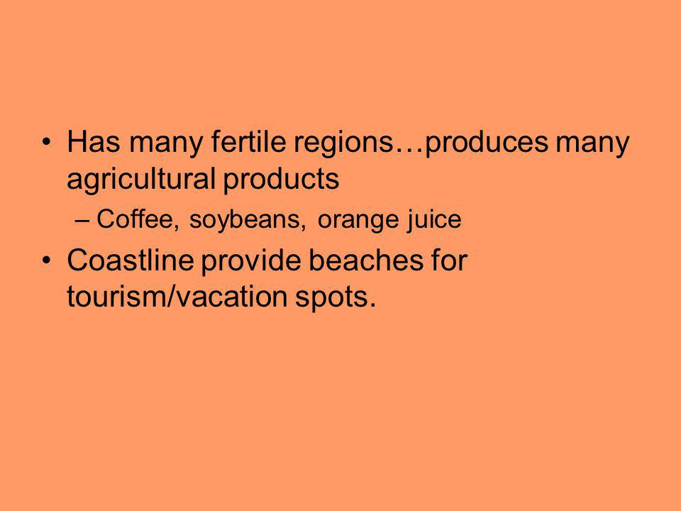 Has many fertile regions…produces many agricultural products