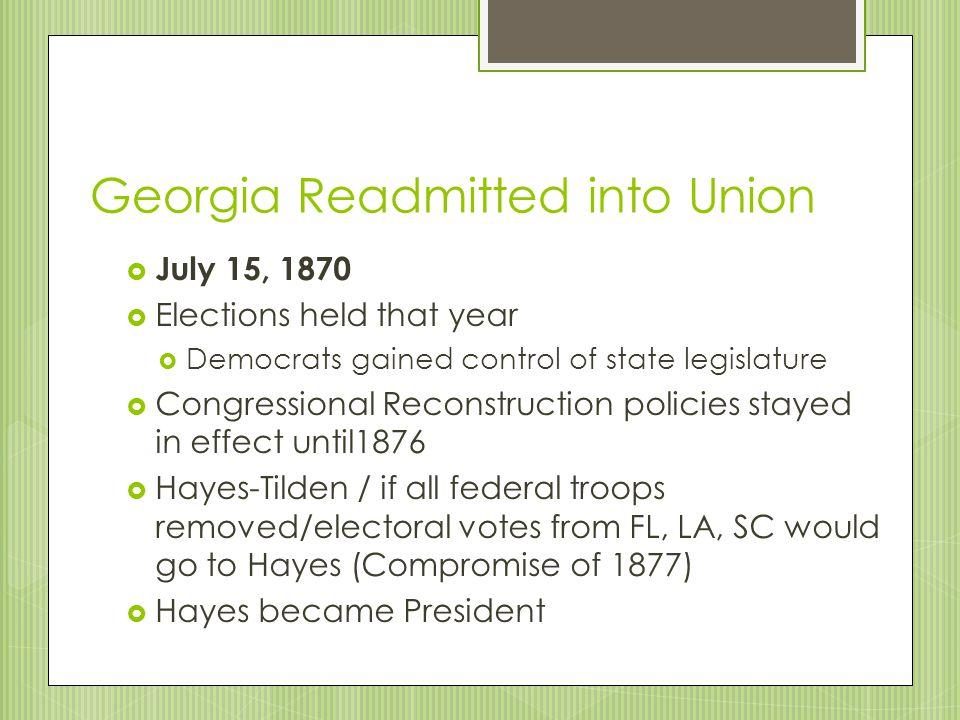 Georgia Readmitted into Union