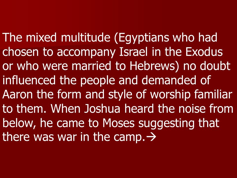 The mixed multitude (Egyptians who had chosen to accompany Israel in the Exodus or who were married to Hebrews) no doubt influenced the people and demanded of Aaron the form and style of worship familiar to them.