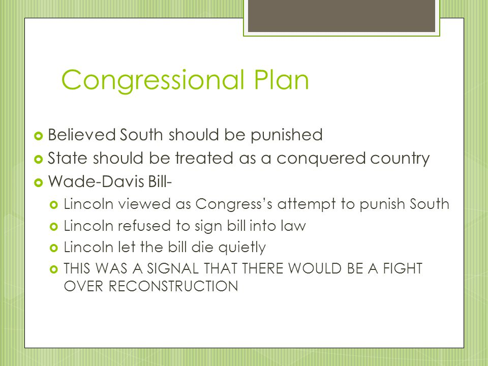 Congressional Plan Believed South should be punished
