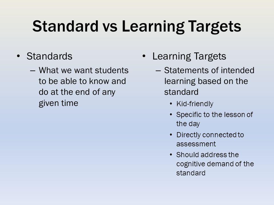 Standard vs Learning Targets