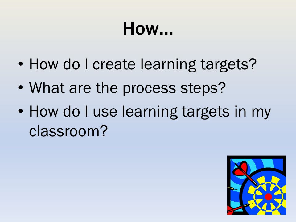 How… How do I create learning targets What are the process steps