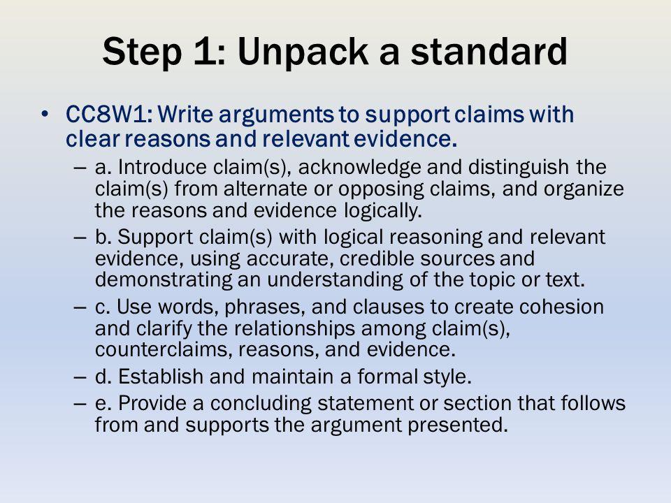 Step 1: Unpack a standard