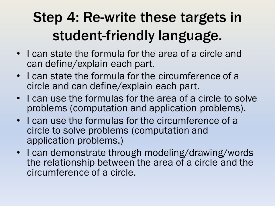 Step 4: Re-write these targets in student-friendly language.