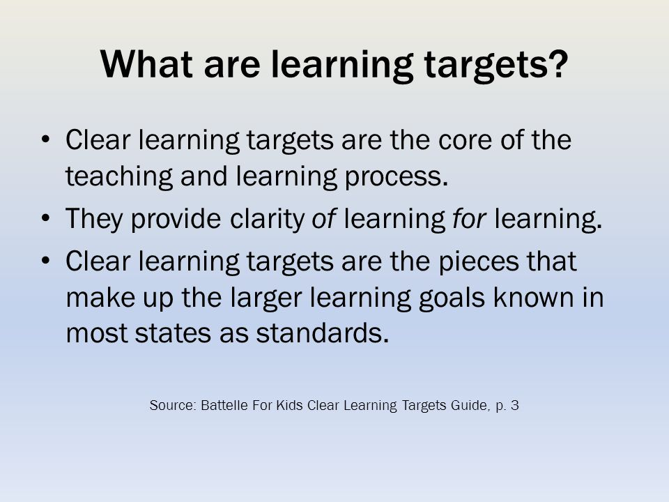 What are learning targets