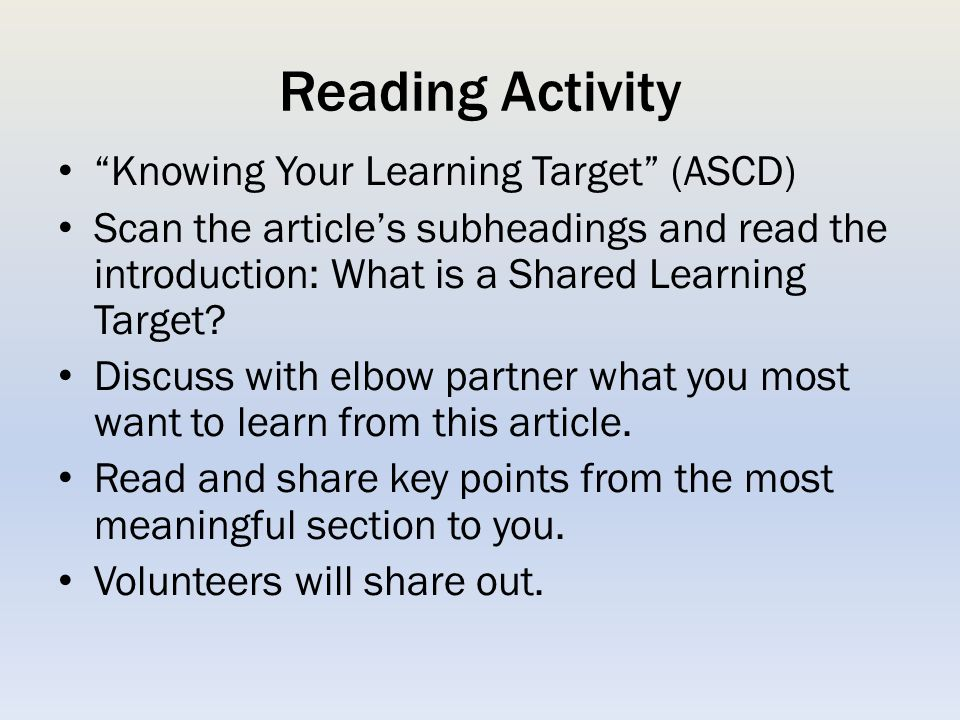 Reading Activity Knowing Your Learning Target (ASCD)