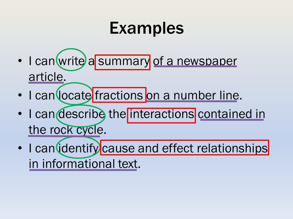 Examples I can write a summary of a newspaper article.