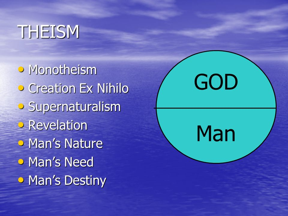 GOD Man THEISM Monotheism Creation Ex Nihilo Supernaturalism