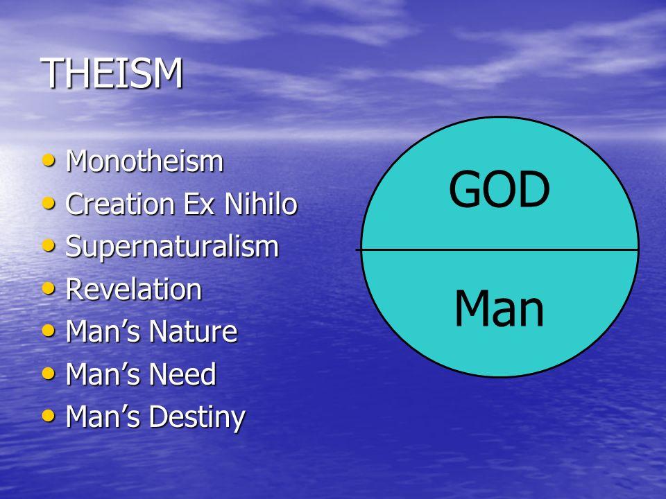 GOD Man THEISM Monotheism Creation Ex Nihilo Supernaturalism