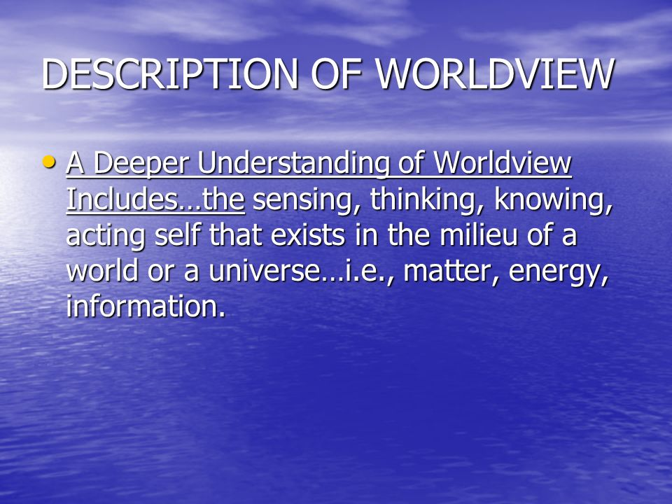 DESCRIPTION OF WORLDVIEW