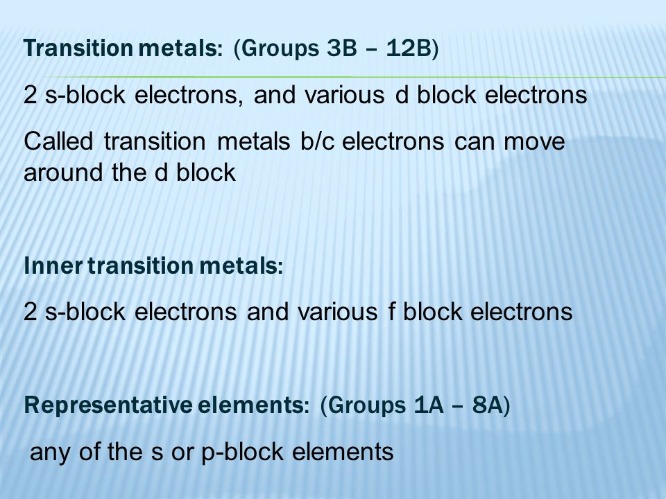 Transition metals: (Groups 3B – 12B)