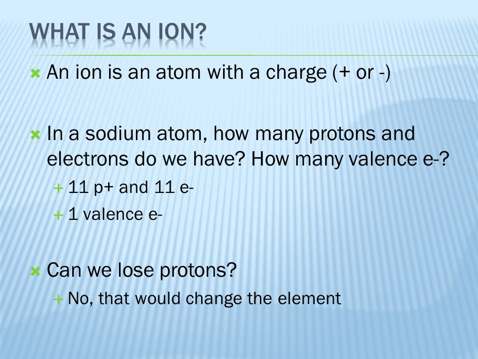 What is an ion An ion is an atom with a charge (+ or -)