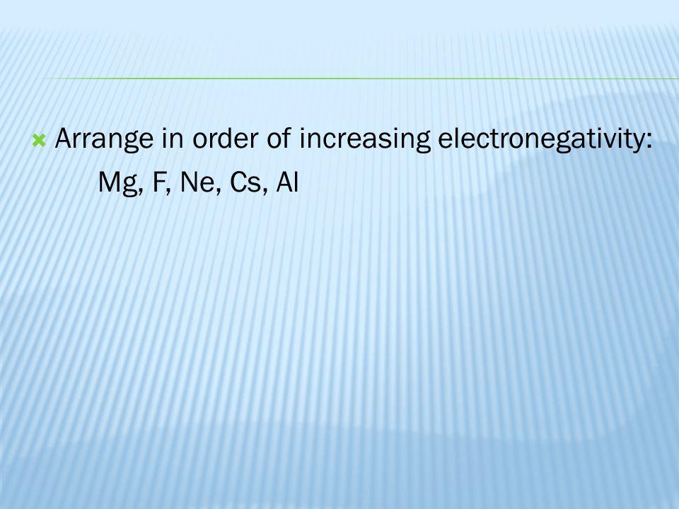 Arrange in order of increasing electronegativity: