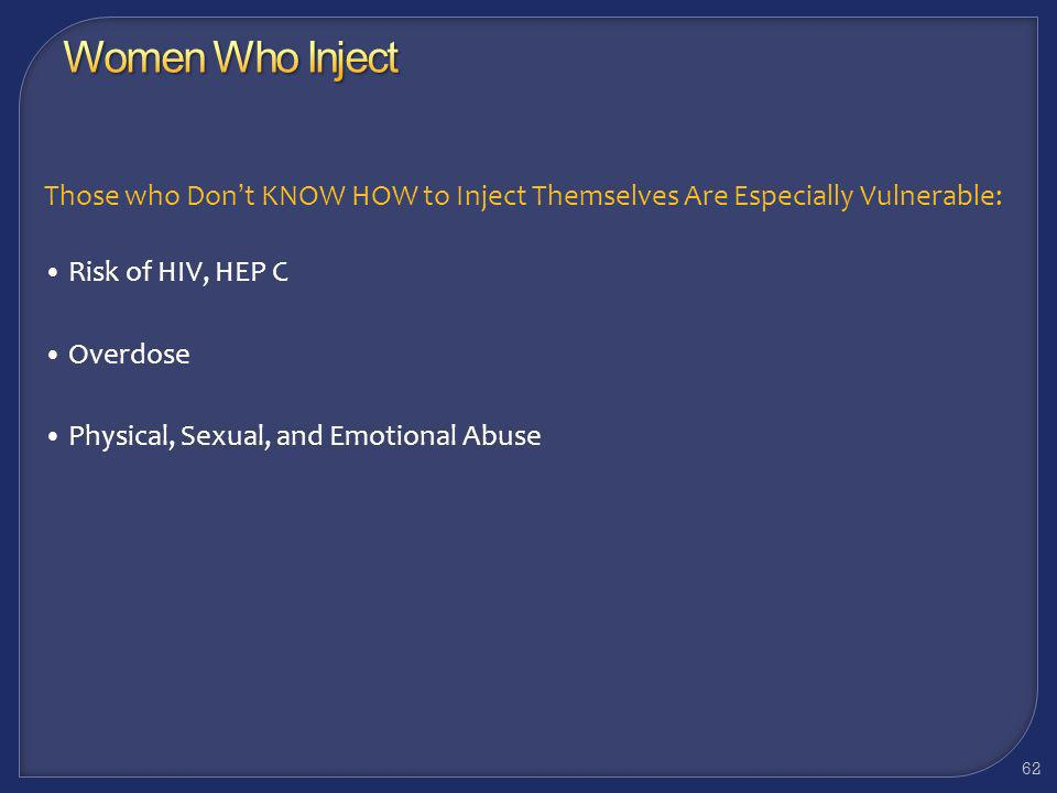 Women Who Inject Those who Don't KNOW HOW to Inject Themselves Are Especially Vulnerable: Risk of HIV, HEP C.