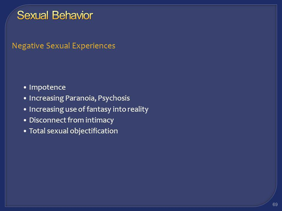 Sexual Behavior Negative Sexual Experiences Impotence