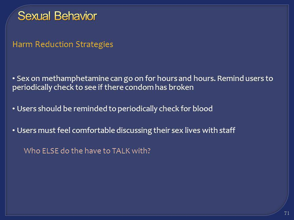 Sexual Behavior Harm Reduction Strategies
