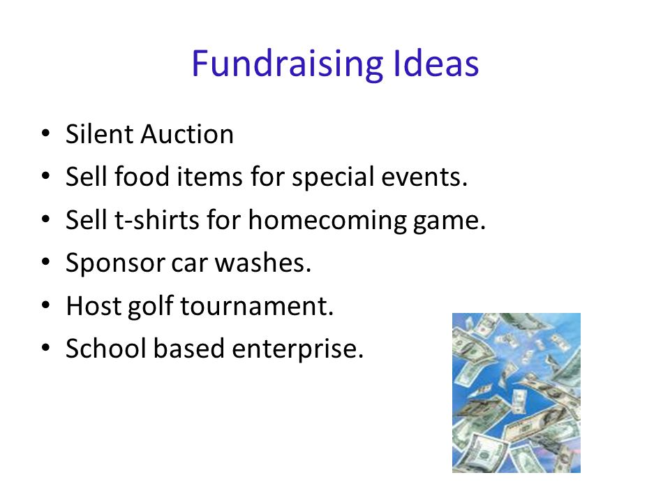 Fundraising Ideas Silent Auction Sell food items for special events.