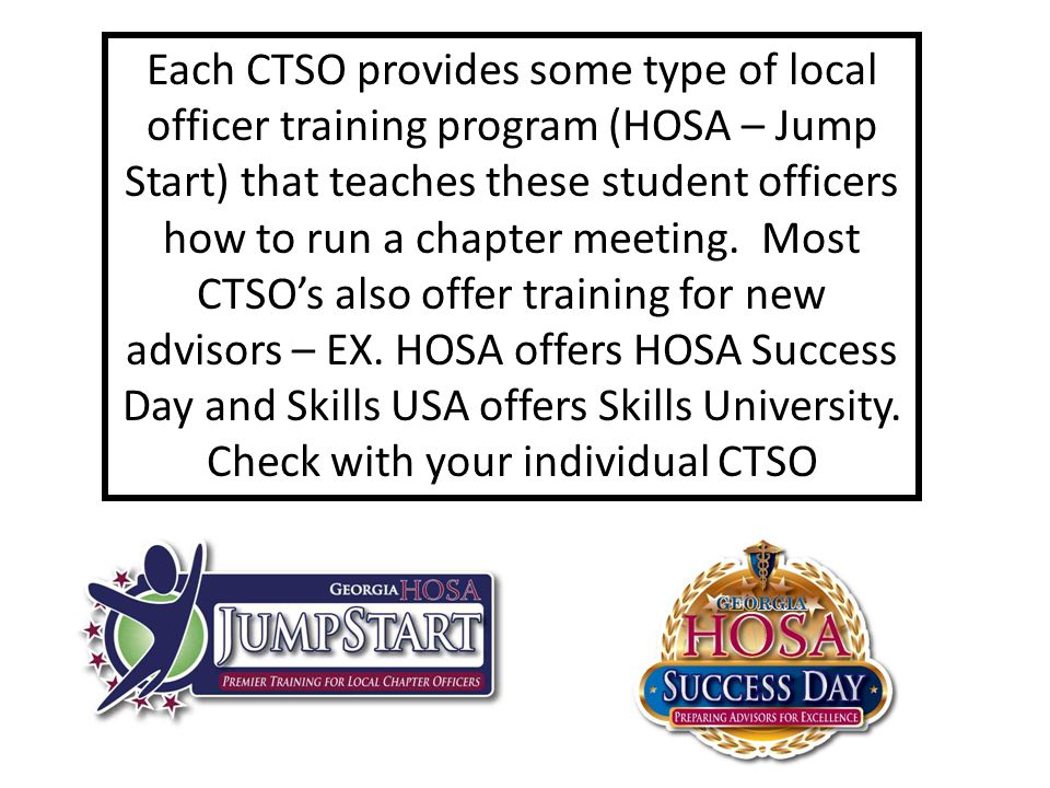 Check with your individual CTSO