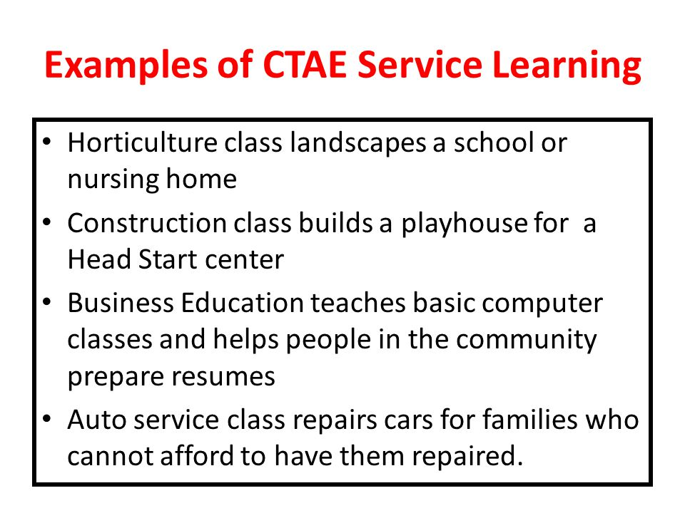 Examples of CTAE Service Learning