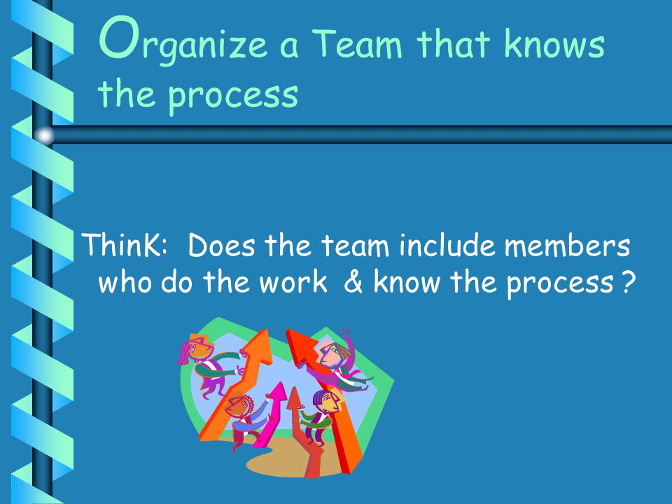 Organize a Team that knows the process