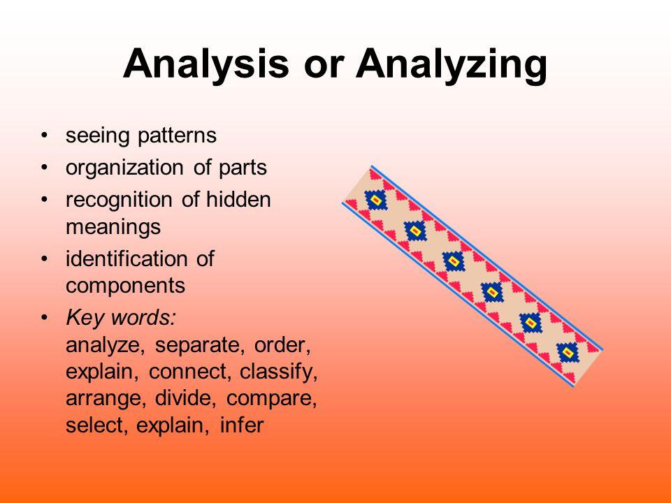 Analysis or Analyzing seeing patterns organization of parts