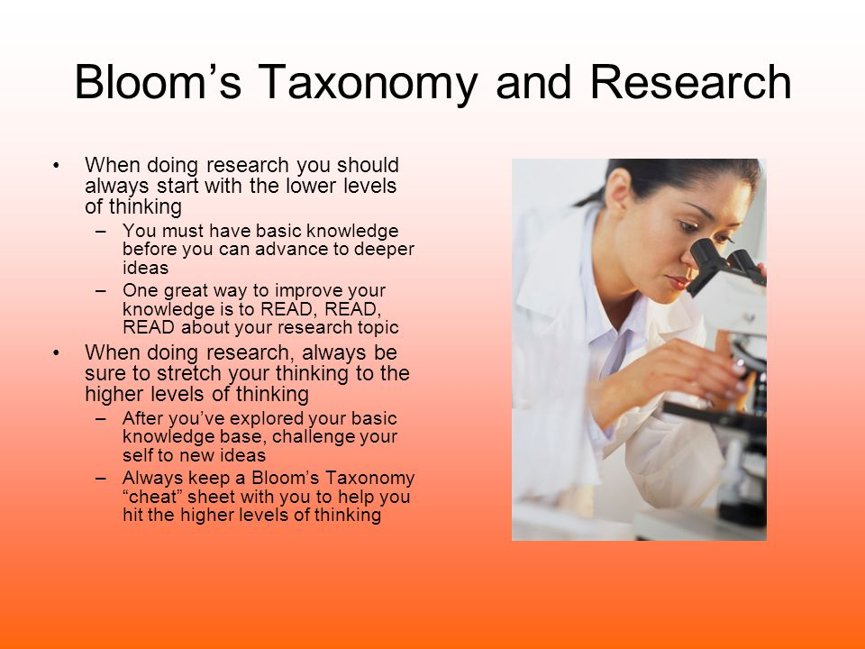 Bloom's Taxonomy and Research