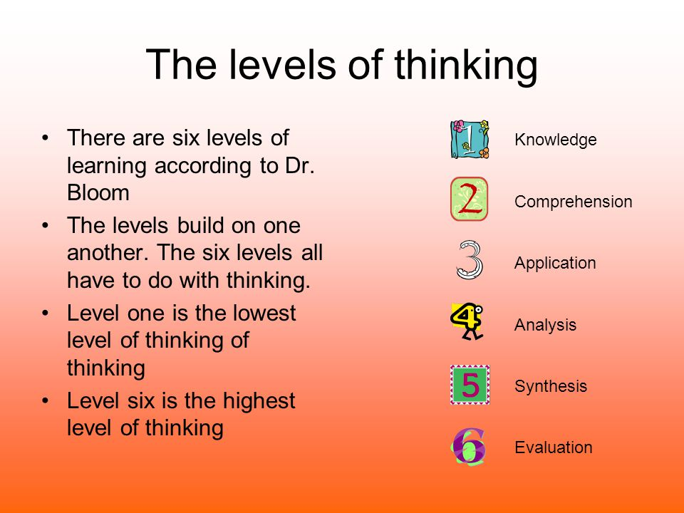 The levels of thinking There are six levels of learning according to Dr. Bloom.